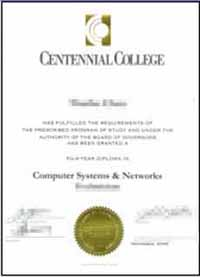 (纪念大学文凭样本)The Centennial College diploma sample, buy degree.